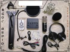 Trọn bộ sản phẩm Bộ live stream sound card V10 Micro Bm 900 đầy đủ phụ kiện ,kẹp bàn ,màng lọc âm ,tặng tai phone