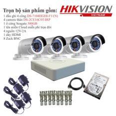 Trọn bộ 4 camera quan sát HIKVISION TVI 1 Megapixel DS-2CE16C0T-IRP chuẩn 720HD