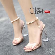 Giày Sandal Cao Gót Nữ Quai Ngang Trong Suốt