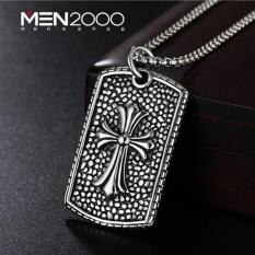 Dây chuyền nam titan cao cấp kèm mặt thẻ bài khắc hoạ tiết thánh giá NXL1002