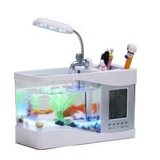 Bể cá Mini để bàn 3 in 1 Kèm đá màu và cây cảnh nhựa, Bể cá cảnh mini thông minh đa năng (Trắng)