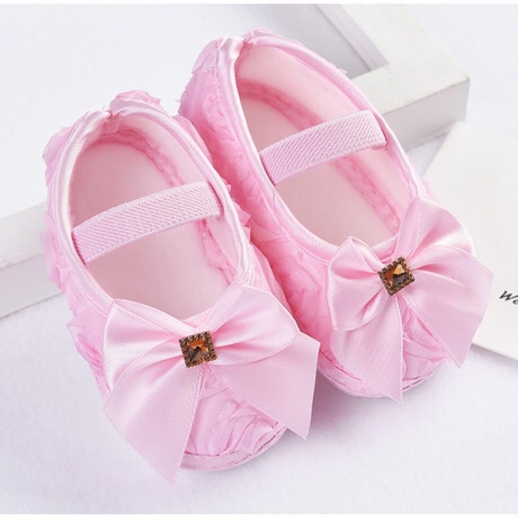 Giày tập đi nơ hồng xinh xắn_Size 11