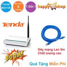 Bộ phát sóng Wifi 1 râu Tenda W311R 150M thích hợp cho các bạn trẻ, bạn sinh viên có phòng trọ không gian vừa và nhỏ Tặng kèm Dây mạng Lan chất lượng cao 5m