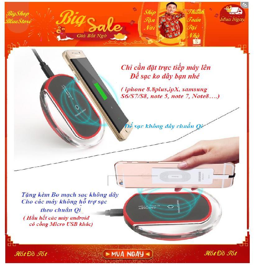 sạc điện thoại bằng bluetooth – Sạc không dây fantasy.vPro HOT1676 Chuẩn Qi + Tặng Bo mạch sạc Chân Micro USB cho Android – BH 1 đổi 1 Uy tín -sac dien thoai iphone