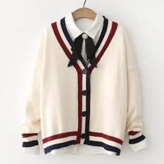 Áo khoác len nữ thu đông sọc đỏ xanh LTTA922 BEAUTYSALES