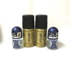 Combo 4 món : 2 chai xịt khử mùi Axe (50ml/chai) + 2 chai lăn khử mùi Nivea nam (12ml/chai) + tặng 1 túi đựng mỹ phẩm xinh xắn