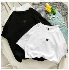 áo thun nam nữ phông rộng tay lỡ in hình trái tim (dưới 60kg mặc đẹp)