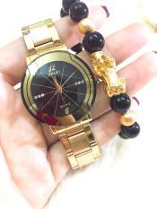 Đồng hồ nam Halei dây thép-TẶNG 1 vòng tỳ hưu phong thủy may mắn (Đồng hồ dây vàng mặt đen)