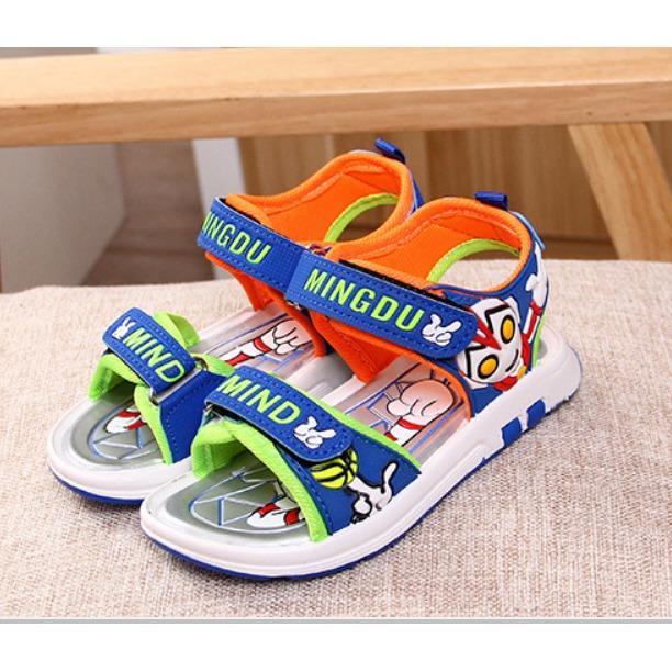 Dép sandal siêu nhân có đèn 3-7 tuổi- xanh