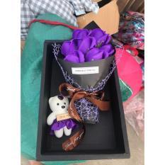 Hoa Hồng Sáp Hồng Vĩnh Cửu tặng kèm hộp và gấu