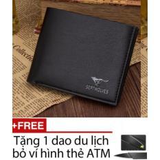 Ví da nam LAZA (Đen ngang) + Tặng kèm dụng cụ cắt hình thẻ ATM