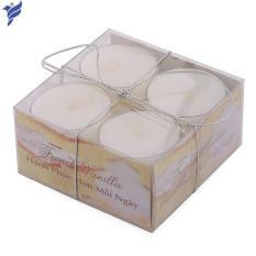 Hộp 8 nến tealight thơm đế nhựa Miss Candle NQM2059 (Vàng nhạt, hương vani)