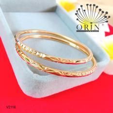 Bộ 2 vòng tay nữ vòng bọng khắc màu 18 xi mạ bền màu cao cấp Orin V2116 thời thượng