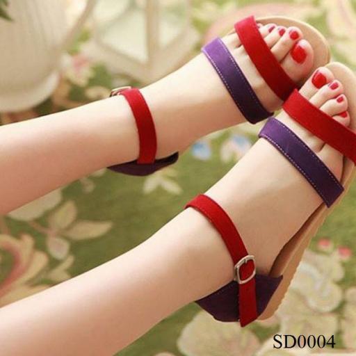 Giày sandal gót 1p đỏ tím
