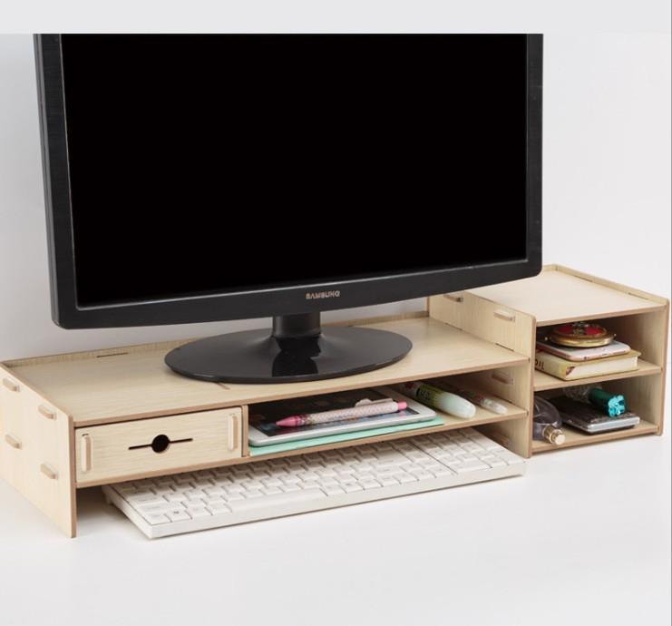 Bàn kê màn hình máy tính Monitor, Laptop đa năng bằng gỗ ghép có hộc tủ nhỏ tiện dụng cao...