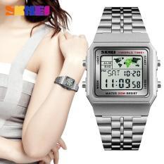 Đồng hồ nữ digital giờ thế giới dây thép không gỉ Skmei 1338 trẻ trung (Nhiều màu)