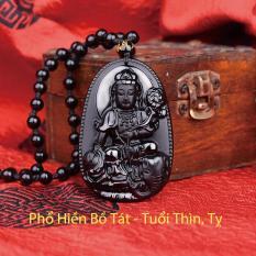 Dây chuyền mặt Phật Bản Mệnh Phổ Hiền Bồ Tát cho tuổi Thìn, Tỵ mang lại may mắn, năng lượng, thành công bằng đá thủy tinh núi lửa Obsidian tự nhiên