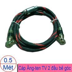 Dây cắm từ đầu DVB với TV (Dây angten TV đúc sẵn) 2 đầu bẻ góc – Có thể tháo rời thay thế thành đầu thẳng 0.5 mét (màu đen – Bọc lưới)