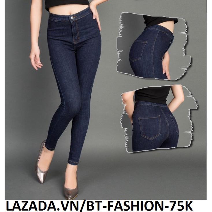 Quần Jean Nữ Lưng Cao (Coton - Co Dãn) Thời Trang Mới - BT Fahsion