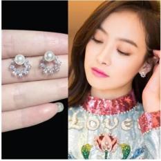 Bông tai bạc Ý s925 hình bông hoa đính trân châu Hàn Quốc (BT24)