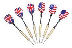 Bộ sản phẩm 6 mũi phi tiêu sắt cờ Anh, Mỹ