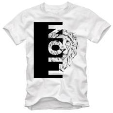 Áo thun nam in hình sư tử cao cấp ( Trắng )