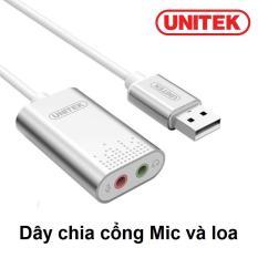 USB 2.0 Sound Unitek Y – 247 ra 2 cổng jack 3.5mm audio và mic (Trắng)