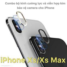 Combo bộ kính cường lực và viền hợp kim bảo vệ camera cho iPhone Xs/Xs Max
