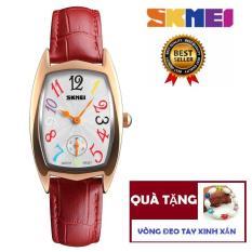 Đồng hồ nữ dây da 2,5 kim Skmei 1323 sang trọng (Tặng vòng đeo tay)