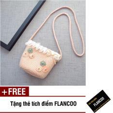 Túi đeo chéo bé gái chất liệu cói dễ thương Flancoo 0292 (Hồng nhạt) + Tặng kèm thẻ tích điểm Flancoo