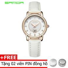 đồng hồ dây da nữ sanda s168, dây da cao cấp, chịu nước tốt 30m hiển thị lịch ngày sang trọng