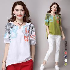 Áo Phông Tay Ngắn Vải Lanh Cotton In Hoadành Cho Nữ