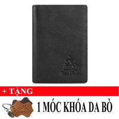 Ví PassPort Da Bò SunPoLo WS09D (Đen) + Tặng Móc Khóa Da Bò