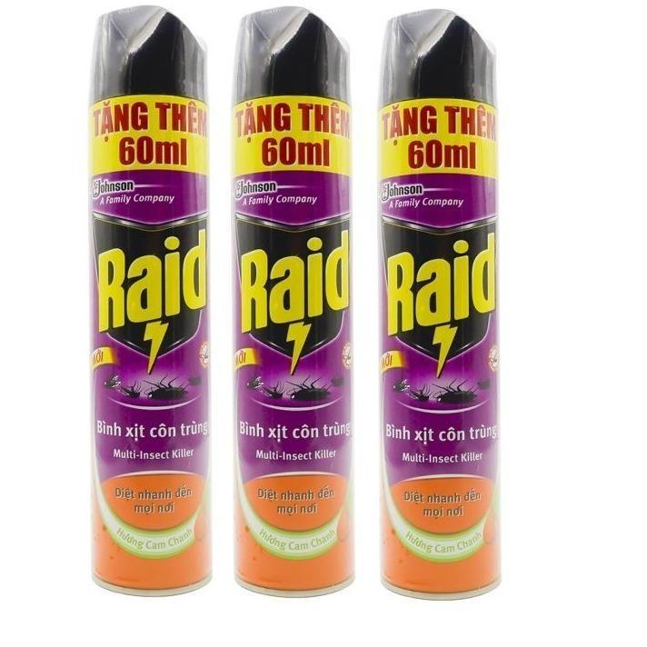 3 Bình xịt côn trùng Raid 600ml tặng thêm 60ml