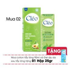 Combo Lotion Tẩy Lông Cleo Avocado 90ml + Gel Dịu Da Sau Tẩy Lông Cléo Giúp Chậm Mọc Lông (50g) – Tặng 1 Cleo 25gr