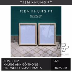Combo 02 Khung Ảnh Treo Tường – Size 20x25cm (Khổ A5 Có Viền) – Khung Hình Gỗ Thông Mặt Kính Trang Trí – Tiệm Khung PT