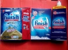 Bộ Viên rửa bát Finish 150 viên+ Muối rửa bát finish 1,2kg+ Nước làm bóng Finish 1150ml (NK Đức)