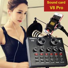 Sound card âm thanh thu âm/ Livestream 2 máy cùng lúc V8 pro (2018) – Có Auto Tune – Sound card Karaoke/ Livestream