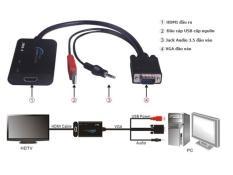 Dây cáp chuyển đổi VGA ra HDMI ( chuyển từ máy tính ra TV, máy chiếu)