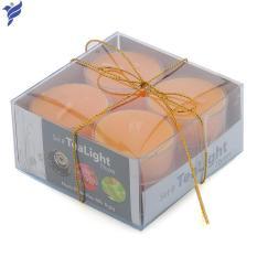 Hộp 8 nến tealight thơm đế nhựa Miss Candle NQM2059 (Cam, hương kẹo ngọt ngào)