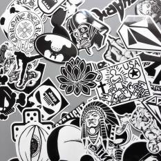 Sticker Trắng Đen Dán Mũ – Gói 20 miếng