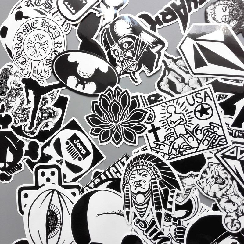 Sticker Trắng Đen Dán Mũ - Gói 20 miếng