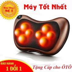 LOẠI TỐT Gối massage hồng ngoại 8 bi thiết kế gọn nhẹ, dễ sử dụng – Tặng Cáp cho Ôto – Bảo hành 1 đổi 1