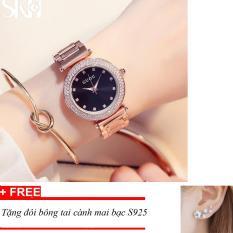 Đồng hồ nữ Guou dây thép không gỉ viền đính đá cao cấp ST-G8329, tặng bông tai cành hoa mai