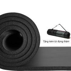 Thảm tập Yoga loại siêu bền, dày 10mm TPE – Tặng kèm túi đựng thảm (Màu đen)