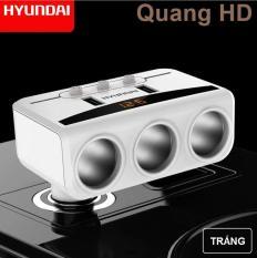 Bộ chia tẩu sạc oto, xe hơi HYUNDAI 3 tẩu 2 USB có màn hiển thị điện áp cao cấp 2018