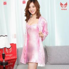 Đồ ngủ nữ đẹp, váy ngủ mặc nhà kín đáo, set váy ngủ kèm áo choàng hồng phấn thêu ren mềm mại