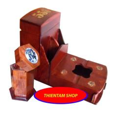 Gạt tàn có hộp chứa bao thuốc gỗ hương đỏ kèm ống tăm (CGT01)