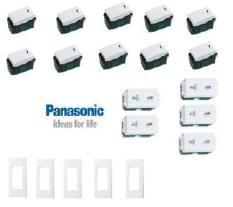 COMBO = THIẾT BỊ ĐIỆN PANASONIC – WEV5001SW (CÔNG TẮC) + WEV68030SW (MẶT 3) + WEV1081SW (Ổ CẮM ĐƠN)