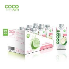 Thùng 12 hộp nước dừa Cocoxim vị sen 330ml